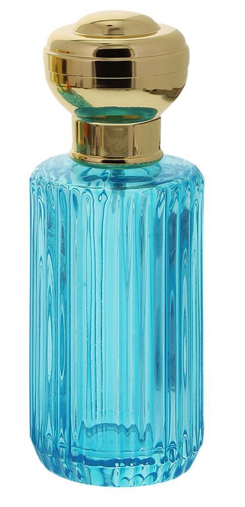Glas-Flacon, Tisch-Zerstäuber für Parfüm, Kosmetex Pumpzerstäuber türkis 100 ml türkise Rillen