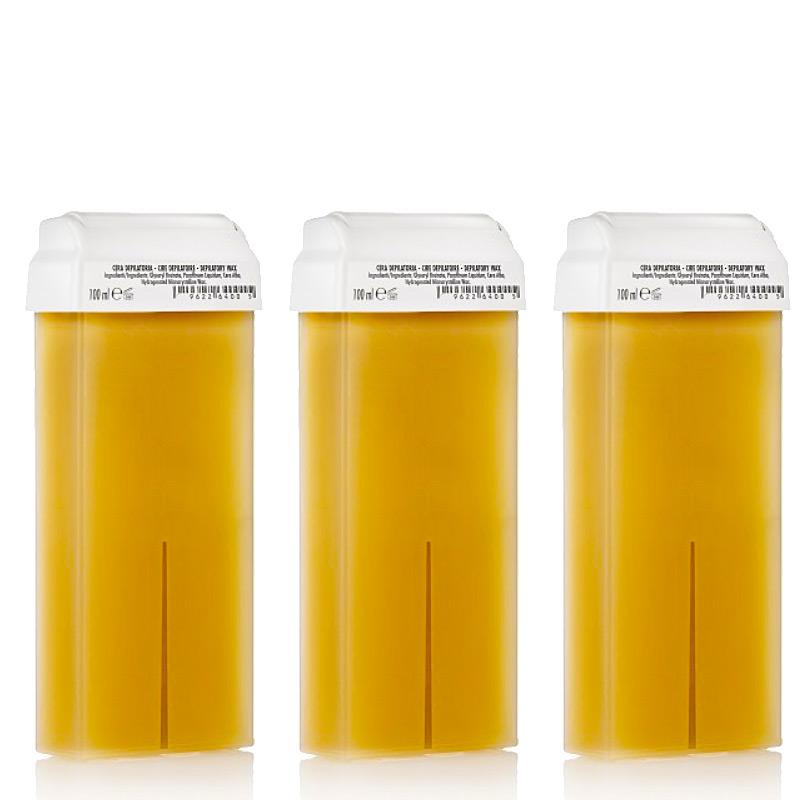 Kosmetex Honig Wachspatrone Roll-on Breit, Enthaarungswachs, Warmwachs, Körperpflege Haarentfernung, 100ml 3 Stück