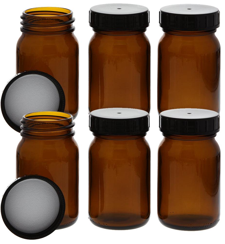 Weithalsflasche, Braunglasflasche m. Kunststoff-Deckel, leer Kosmetex Glasdose, Flasche, 200 ml 6× 200 ml