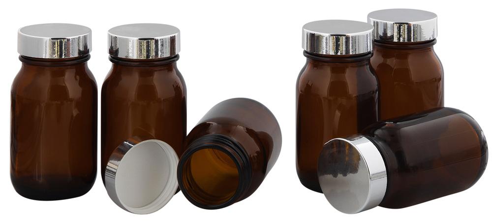 Braunglasflasche m. Kunststoff Deckel, Weithals-Flasche, 100 ml Kosmetex Glasdose aus Braunglas, Leerer Tiegel 6× silber
