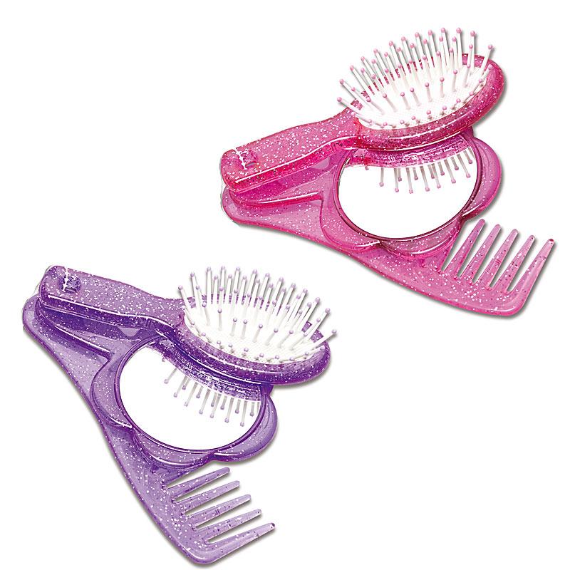 Girly Handtaschenset 3 teilig, Bürste, Kamm und Schminkspiegel für Mädchen,