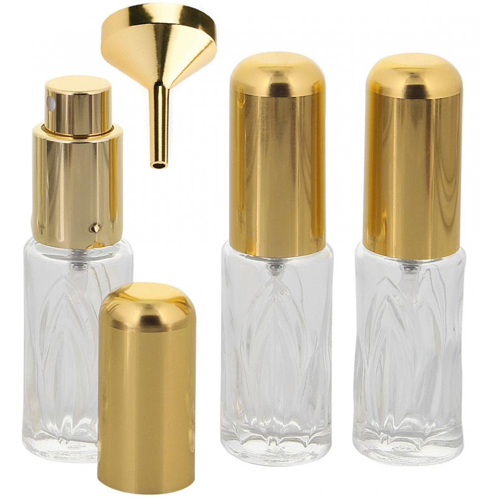 Runder Flakon, Parfum-Zerstäuber, Pumpzerstäuber, Blatt-Muster Kosmetex Sprüh-Flasche, leer, 10 ml 3 x gold + Trichter