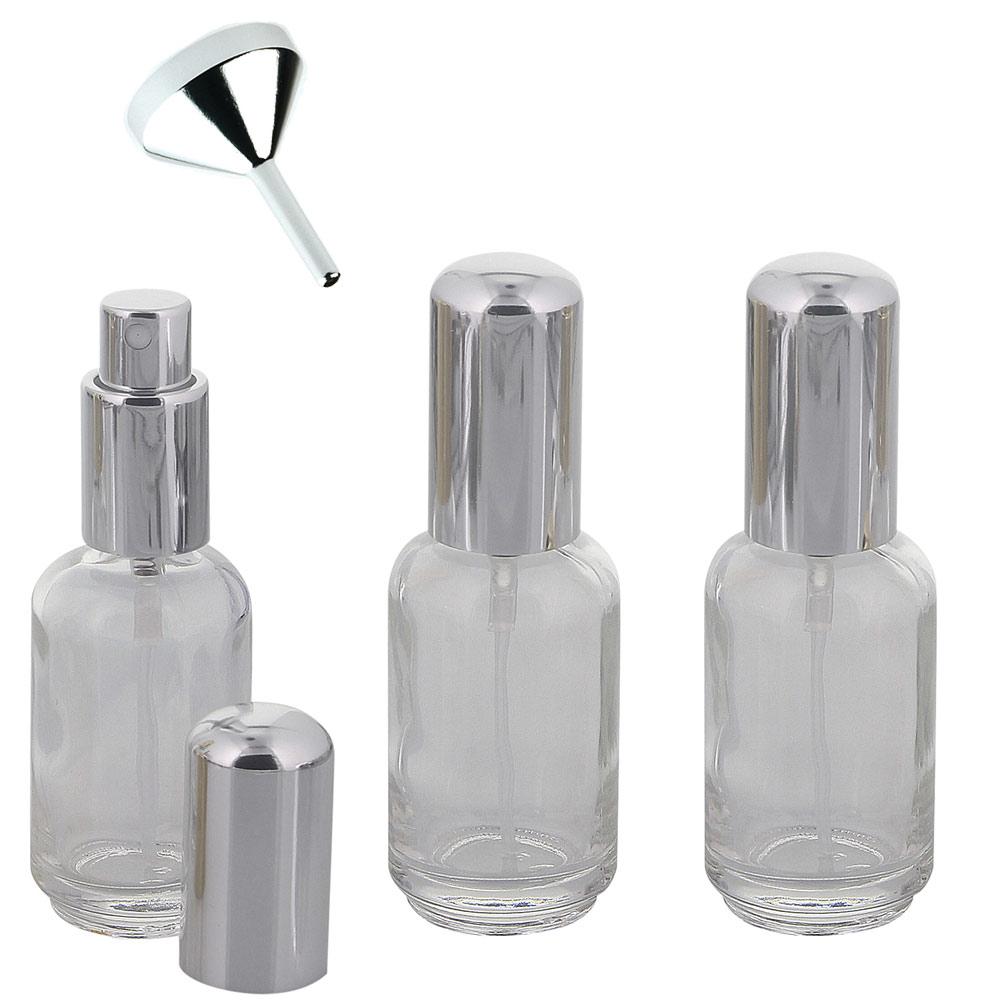 Abgerundeter Parfümflakon Glas mit Zerstäuber, 30ml Flakon Flaschenform für Parfum, Colognes, leer, Kosmetex 3 x silber + Trichter