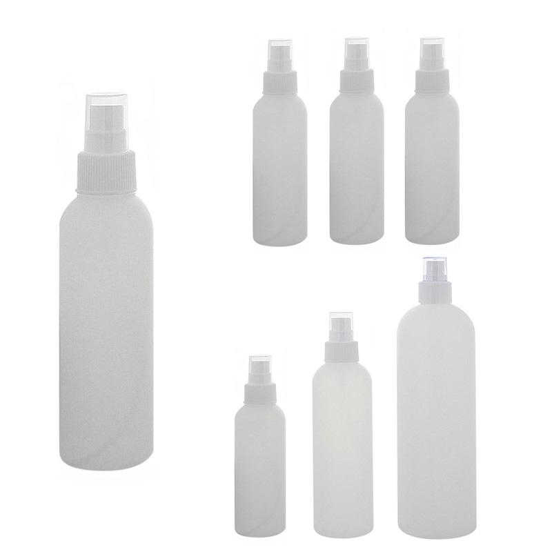 Leere Flasche mit Zerstäuber 150ml, 200ml, 500 ml, Kosmetex BOSTON, Sprüh-Flasche, Plastik, zylindrisch, halbtransparent