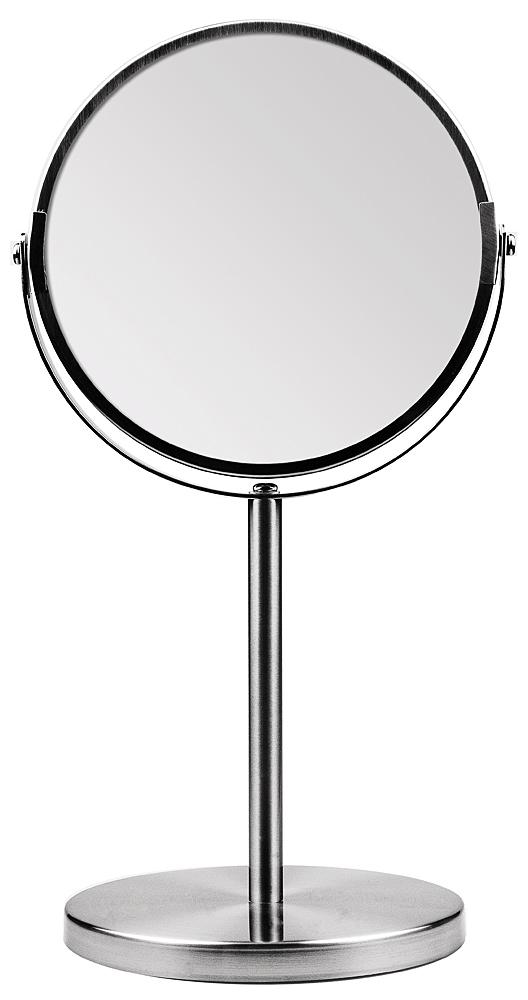 Kosmetex Metall Stand-Spiegel mit 2-fach Vergrößerung, 2 Spiegelflächen, 34cm Ø 16cm, Kosmetik-Spiegel drehbar