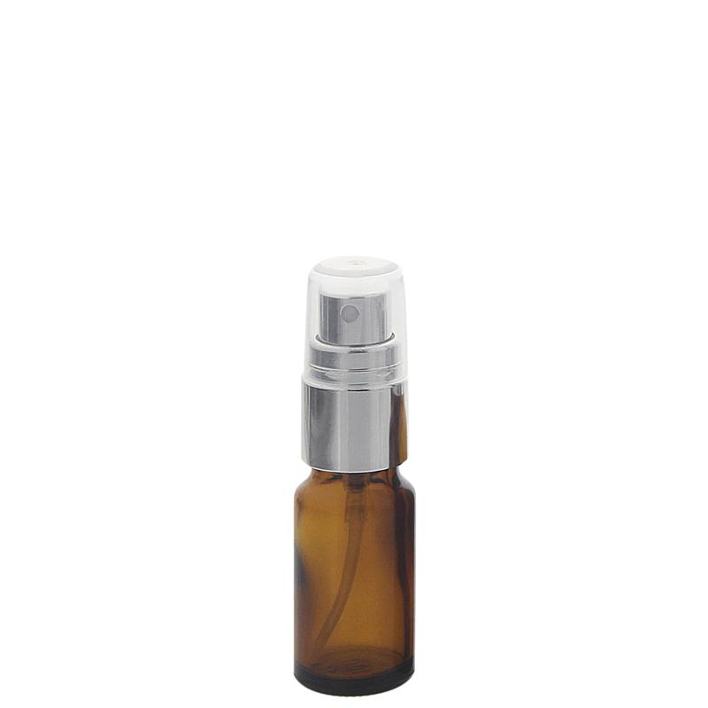 Braunglas Sprühflasche Zerstäuberflasche mit silber. Pumpzerstäuber. Kosmetex Parfümflakon 10 ml