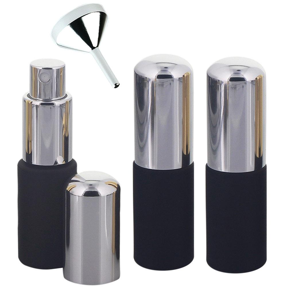 Kosmetex, Taschenzerstäuber, Glas-Flakon mit Zerstäuber Parfüm-Zerstäuber, schwarz, matt, leer, 10ml 3 x silber + Trichter