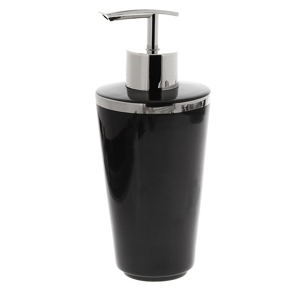 Seifenspender Nero, Schwarz mit Silber Platin Kosmetex Bad Accessoires Lotionflasche aus Porzellan