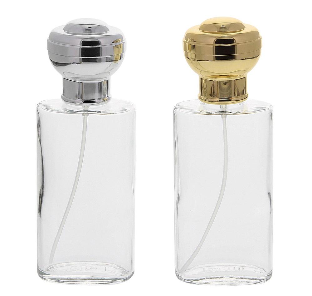 Ovaler Glas-Zerstäuber, Kosmetex Parfüm-Flakon mit großer Kugelkappe, leer, 100ml
