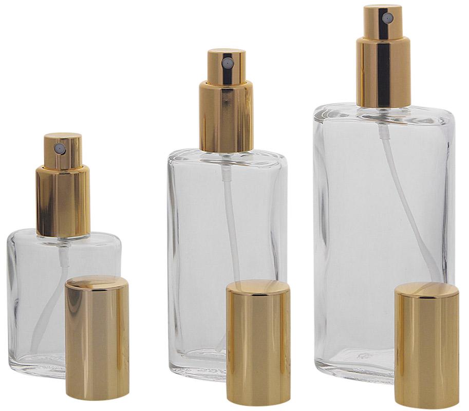 Ovaler Klarglas Kosmetex Flakon mit gold. Zerstäuber,