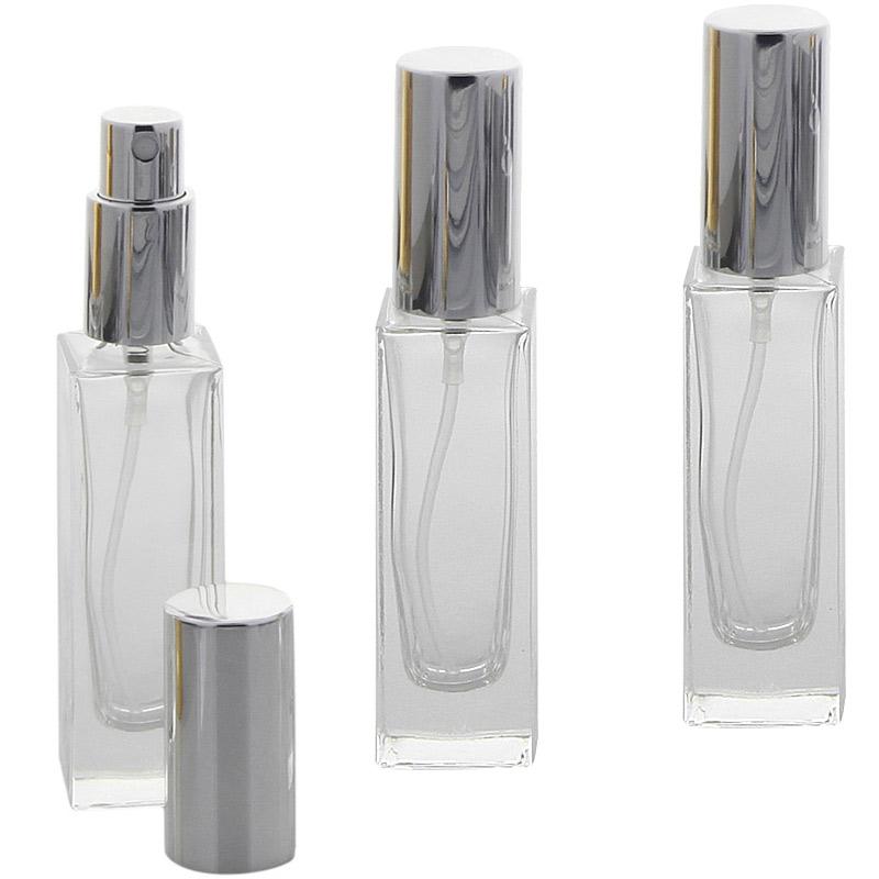 Glas-Flakon mit Parfüm-Zerstäuber in Silber, 30ml Kosmetex Gerade Linie, für Colognes, leer 3x Silber