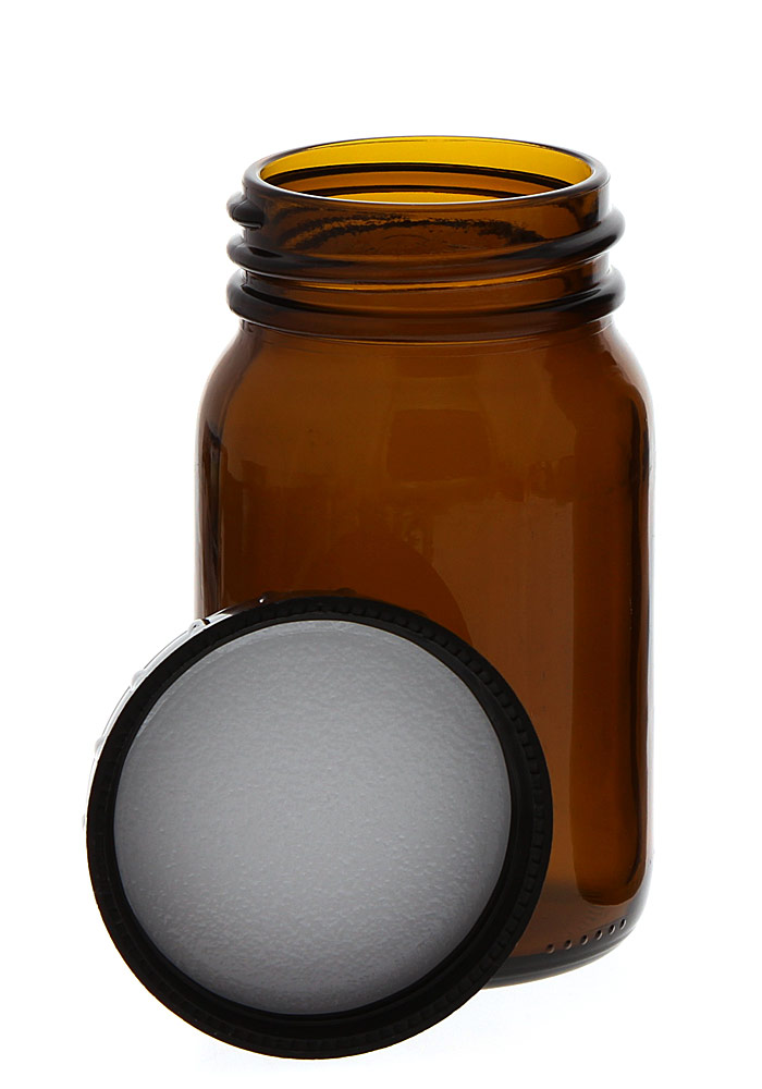 Weithalsflasche, Braunglasflasche m. Kunststoff-Deckel, leer Kosmetex Glasdose, Flasche, 200 ml 1× 200 ml