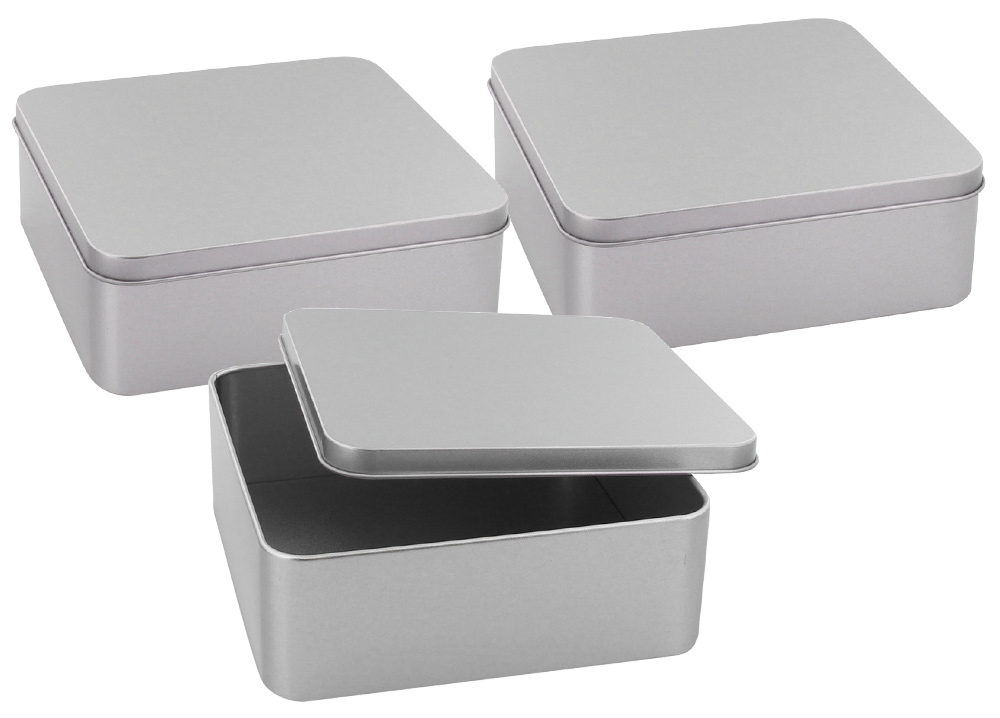 Alu Dose 15 x 15 x 5 cm mit Deckel, Aufbewährungsdose Alu Behälter, kleine Keksdose 3 Stück