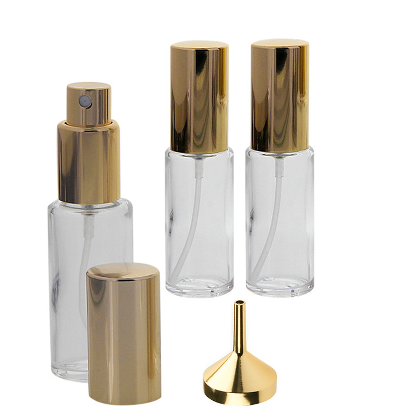 Runder Klarglas Kosmetex 20ml Flakon mit gold. Zerstäuber plus Trichter 3x Gold +Trichter