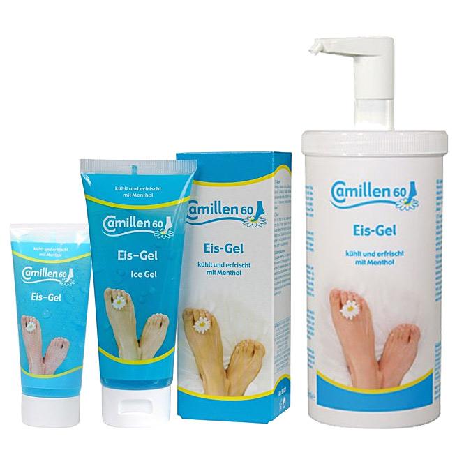 Eis Gel Camillen 60, kühlende Fußcreme mit Kamille, Menthol, für heisse Füsse