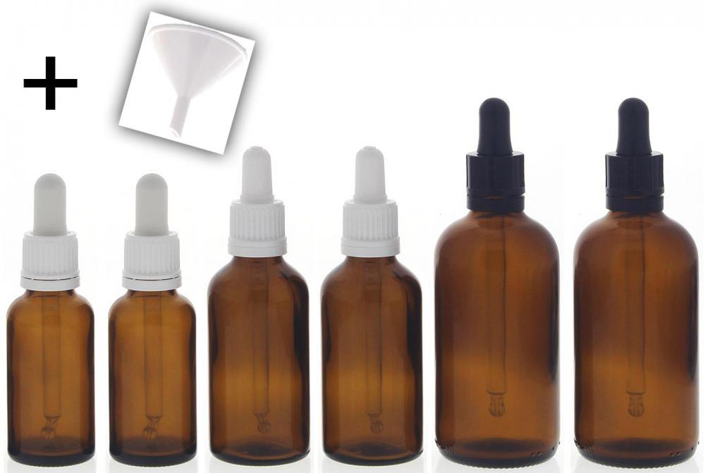 Braunglasflasche mit Pipette je 2x 100ml, 50ml, 30ml, 1x Trichter Kosmex Glasflasche, Pipettenflasche mit Pipettenmontur. 6er Set +Trichter
