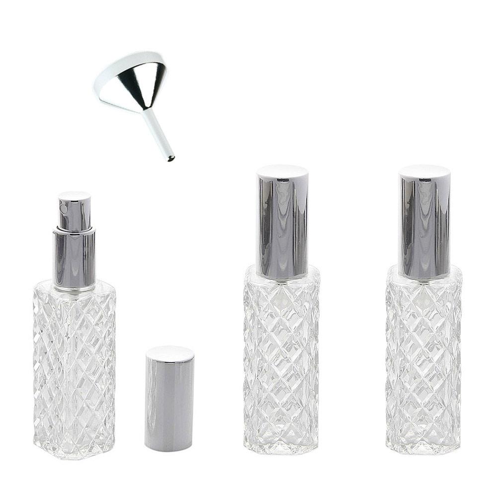 Kosmetex Flakon mit Kristallglasschliff-Art für 40ml Parfum, Gesichtswasser, Raumduft, Glas leer mit Zerstäuber 3x Silber +Trichter