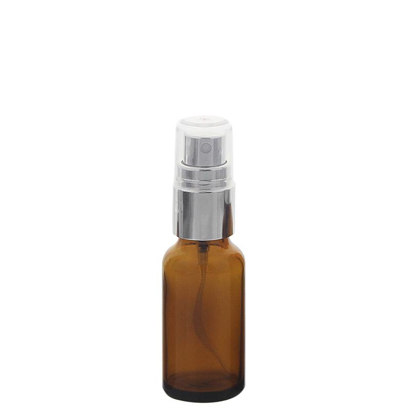 Braunglas Zerstäuberflasche mit silber. Pumpzerstäuber. Kosmetex Parfümflakon 20 ml