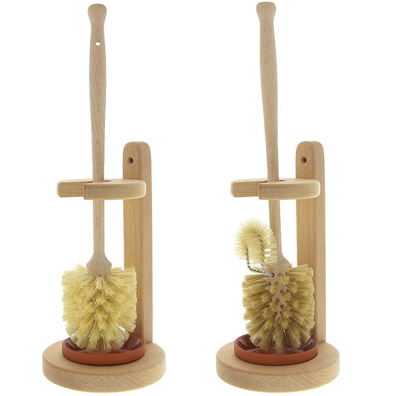 WC Bürste, Kosmetex Holz Klobürste mit WC Ständer aus Buchenholz