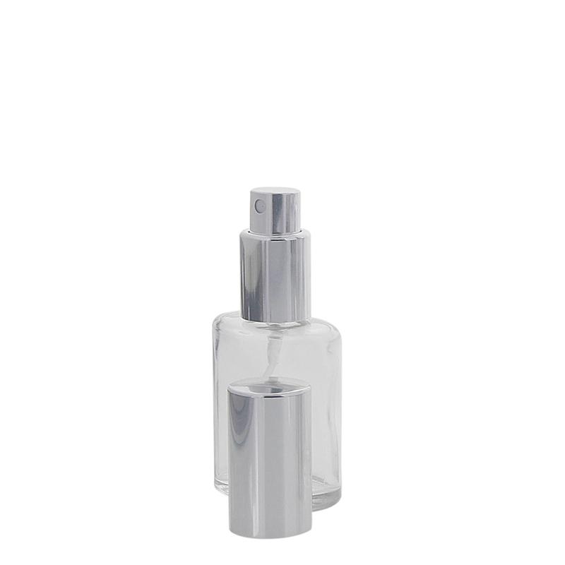 Ovaler Klarglas Kosmetex Flakon mit silber. Zerstäuber, 30 ml