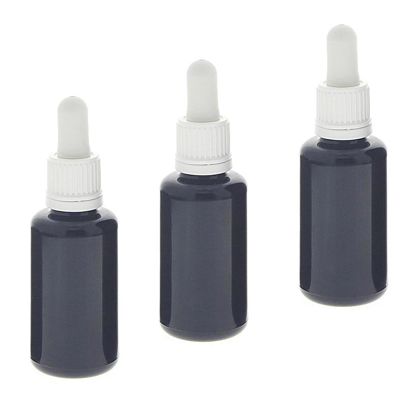 Violettglas Miron-Flasche mit Pipette, leere violette Mironglas-Flasche, Kosmetex Pipettenflasche mit Pipettenmontur. 3× 30 ml