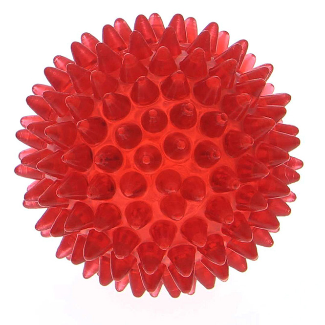 Noppenball, Akupressurball, Igelball, klein 5 cm Massageball mit Noppen für die Reflexzonenmassage Rot