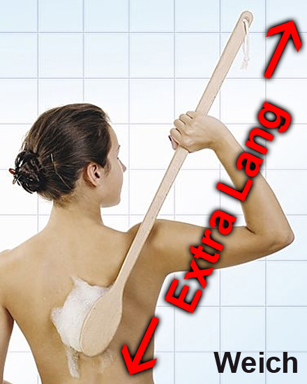 Weiche 80cm lange Rückenbürste EXTRA LANG, Große Badebürste aus Holz mit langem Stiel