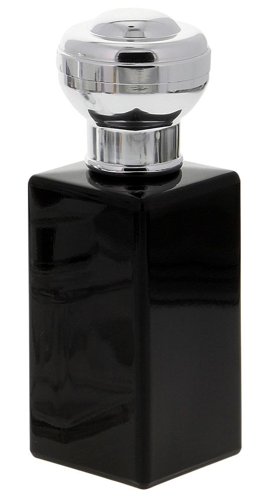 Flakon für Parfüm 100 ml, Glas Flacon schwarz, Kosmetex kubischer Pump-Zerstäuber Schwarz-Silber