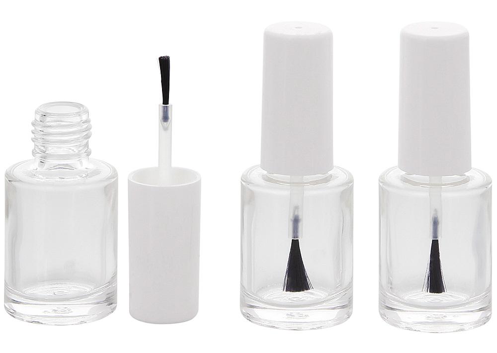 Glasklare leere Nagellack-Flasche Rund mit Pinsel, für Selbstabfüller, Kappe weiss, 10ml, Kosmetex 3 Stück