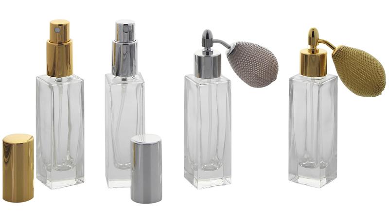 Glas-Flakon leer, Parfüm-Zerstäuber, 30ml, Ballpumpe, Kosmetex Gerade Linie, für Colognes,