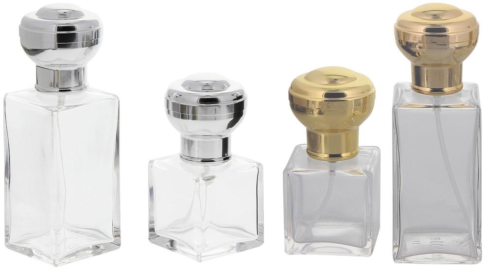Flakon für Parfüm, 50 o. 100 ml, Flacon Kosmetex kubischer Pumpzerstäuber