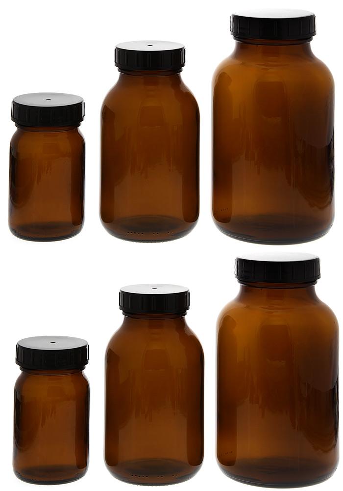 Weithalsflasche, Braunglasflasche m. Kunststoff-Deckel, leer Kosmetex Glasdose, Flasche, rund 6er mix
