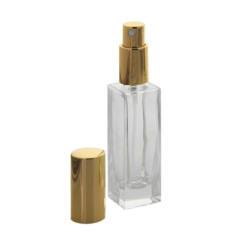 Glas-Flakon Parfüm-Zerstäuber, 30ml Kosmetex Gerade Linie, für Colognes, leer Gold