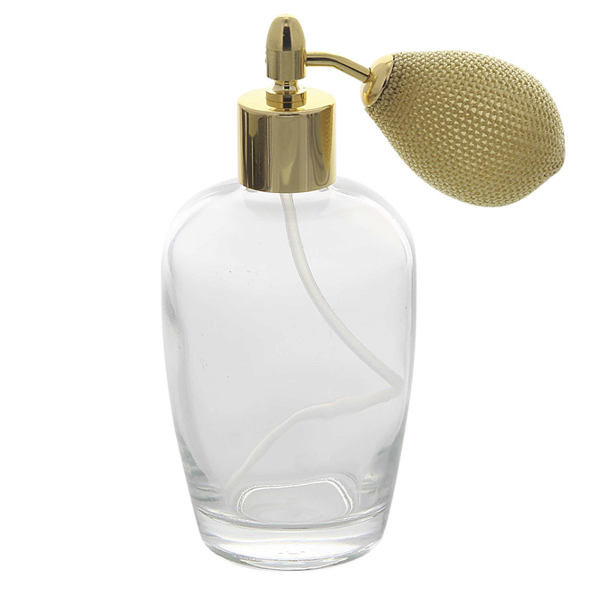 Bauchiger Parfümflakon mit Ballpumpe, Glas 100ml Kosmetex Flakon für Parfum Colognes, leer Gold