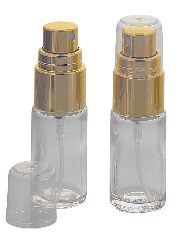 Klare Glas Flakon, Klarglasflasche mit gold. Zerstäuber, Kosmetex Sprühflasche, Glasflasche mit Pumpzerstäuber