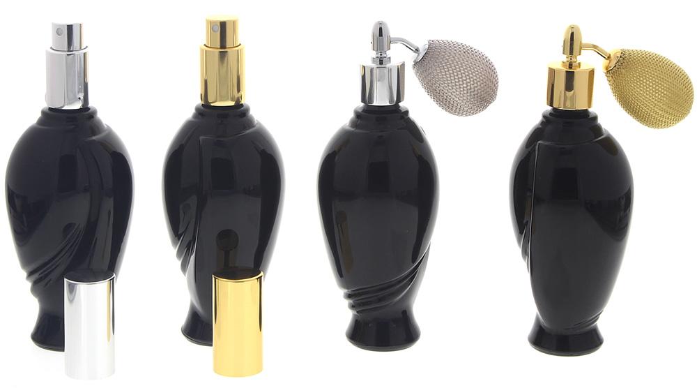 Schwarzer Glas-Flakon Art Deco Amphore, 100ml Kosmetex Parfüm-Zerstäuber mit Zerstäuber o. Ballpumpe