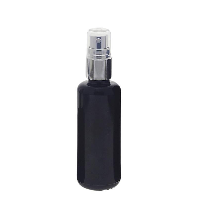 Violett Mironglas Sprühflasche, stark lichtschützend, Miron Glas-Flasche mit silber. Pumpzerstäuber Kosmetex, Flakon 50 ml
