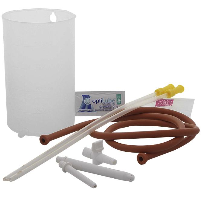 Irrigator Set (1 ltr) mit Schlauch, Hahn, Mutterrohr, Gleitgel, 3 Klistiere für Einläufe