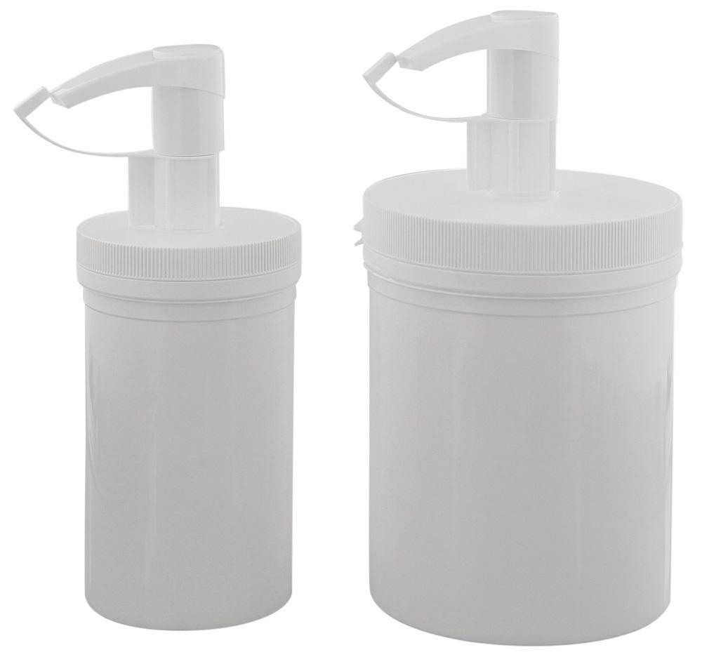 Creme-Pumpspender, leere weiße Dose 450 ml oder 1 Liter, mit Pumper, Kosmetex