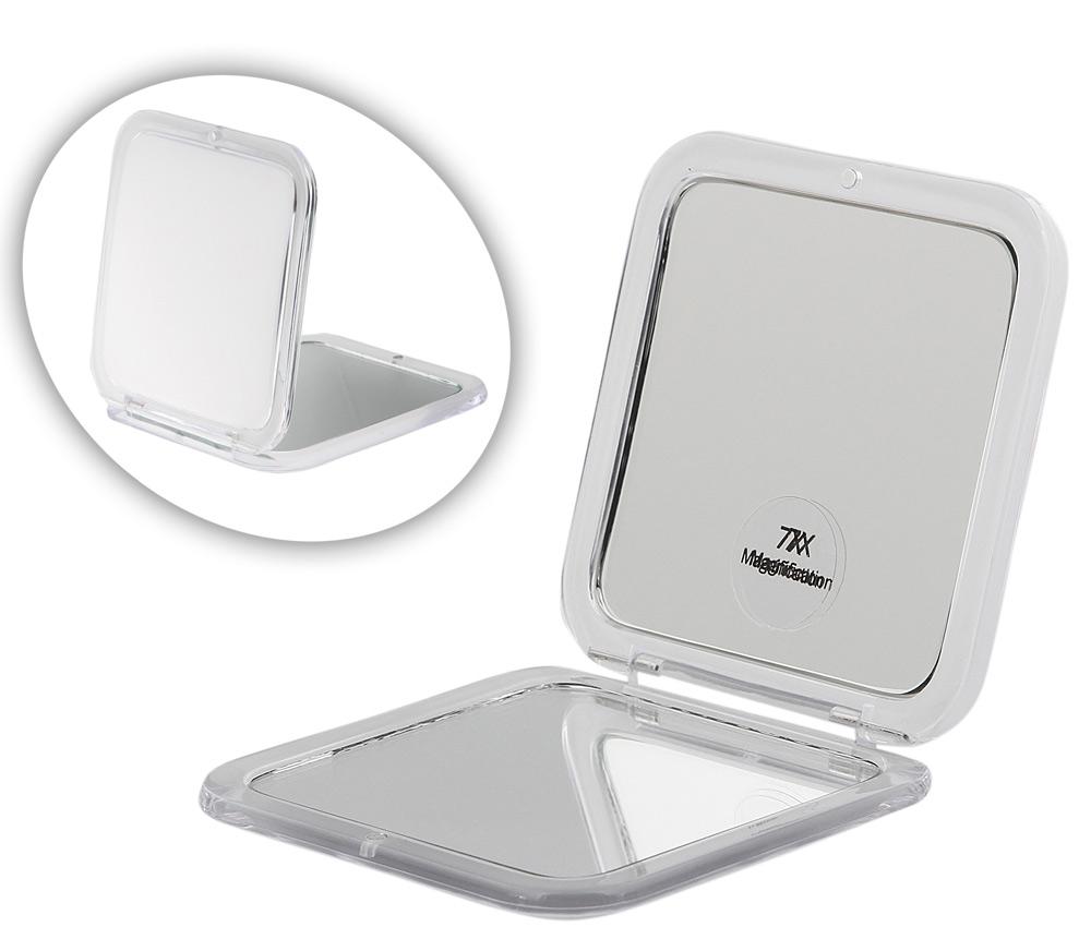 Taschen-Spiegel Weiß Acryl Kosmetex mit 7-fach Vergrößerung und Magnetverschluss, Spiegel 8.5 x 8.5 cm