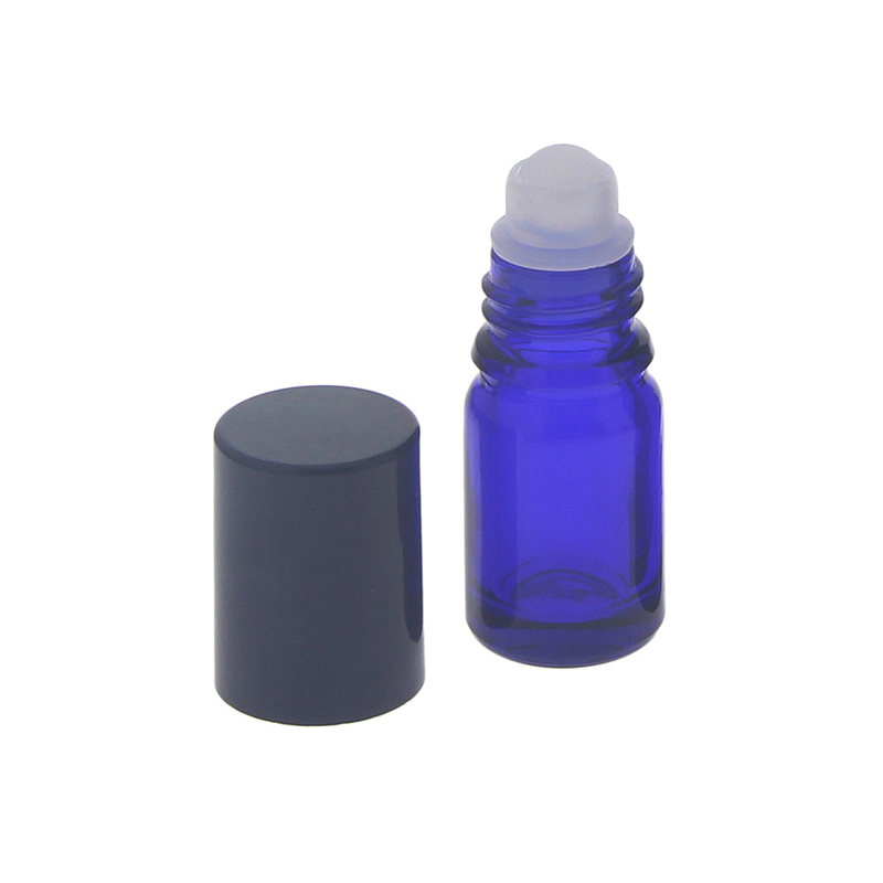 Blauglas Deostick 5ml, leere blaue Flasche mit Deo-Roller und Kappe, zum Selbst befüllen, ca. 62 x Ø 22 mm, Kosmetex, 1 Stück 1 x 5ml
