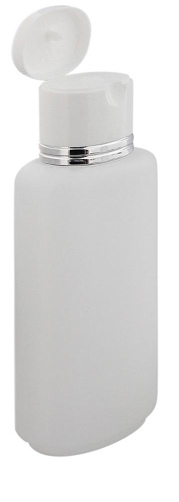 Ovale Klappflaschen transparent mit Silberrand 250ml Kosmetex leer zum Befüllen mit Gel, Lotion, Shampoo Duschflasche 1 Stück