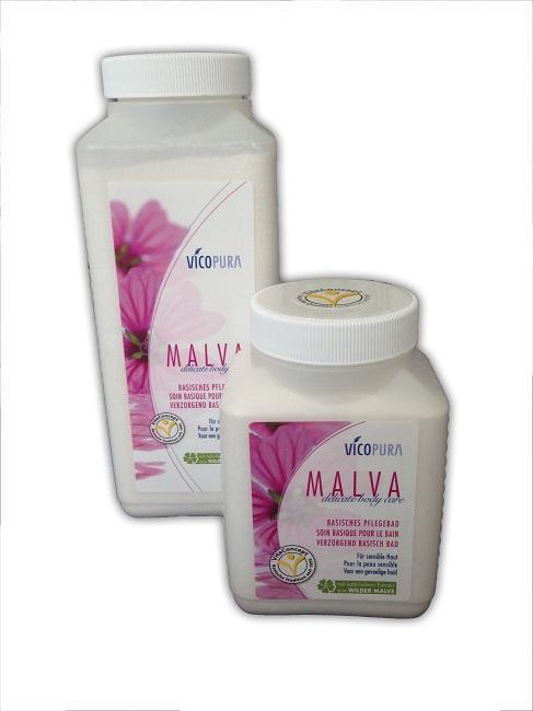 VICOPURA MALVA delicate body care, basisches Pflegebad, Basensalz ,beruhigendes Badesalz, Basenbad für juckende Haut