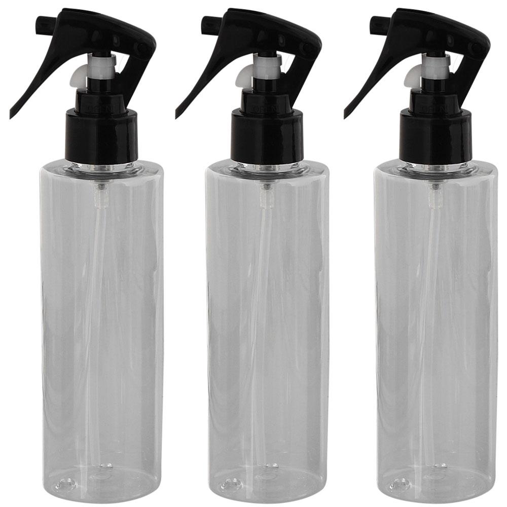 Leere Sprühkopf-Flasche 200ml, Kosmetex Sprühflasche Zerstäuber, Plastik glasklar, zylindrisch 3 Stück