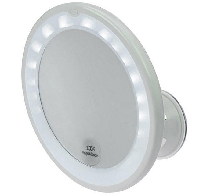Kosmetex Spiegel, mit 10 fach Vergrößerung, LED Beleuchtung und Saugnapf. Ø 17,5 cm