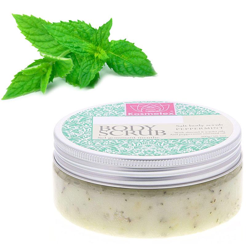 Kosmetex Salz Peeling, Körperpeeling mit Mango Shea Butter, Mandelöl, Jojobaöl, Sauna Salzpeeling, Salt Body Scrub Peppermint 1 kg