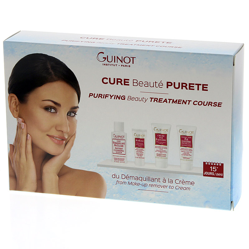 GUINOT Coffret Cure Beaute Purete, 15 Tage-Pflege-Set, talgregulierendes Serum, Cremes, Peelingmaske für fettige Haut