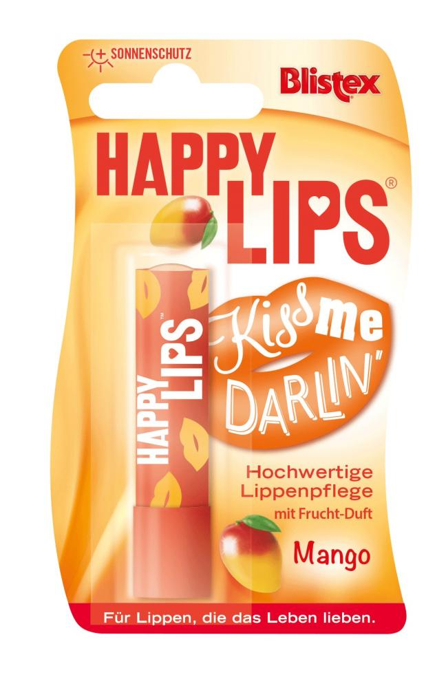 Blistex Happy Lips Mango, Lippenbalsam Sortiment, für rissige, brennende, trockene, glanzlose Lippen