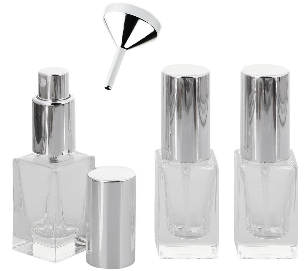 Parfümflakon Glas mit Zerstäuber, 15 ml Kosmetex Flacon f. Parfum Colognes, leer 3 x silber + Trichter