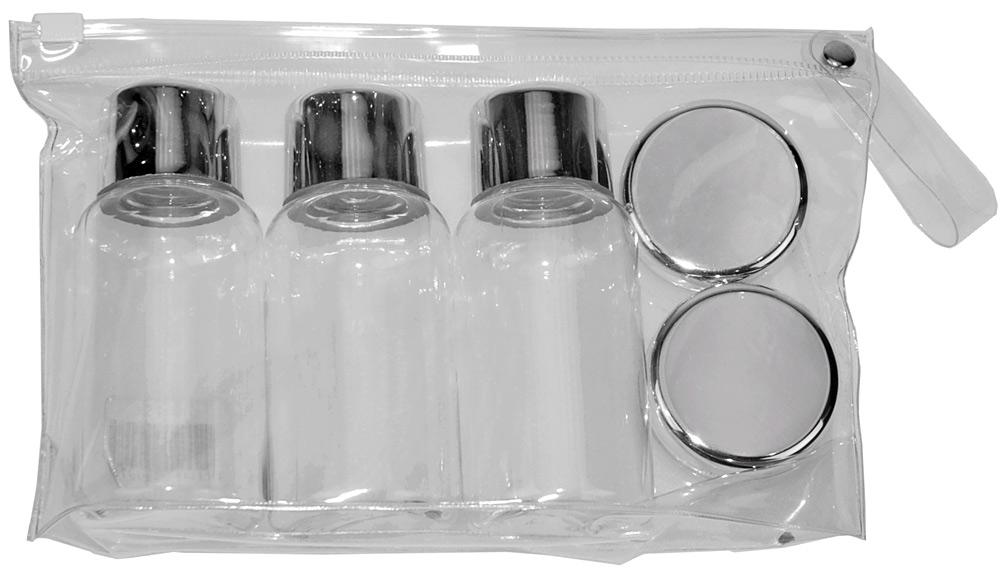 Travel-Set Kosmetex mit leeren Flaschen, Dosen für Flüssigkeiten im Handgepäck, Flugzeug, Reise-Set, 6-teilig